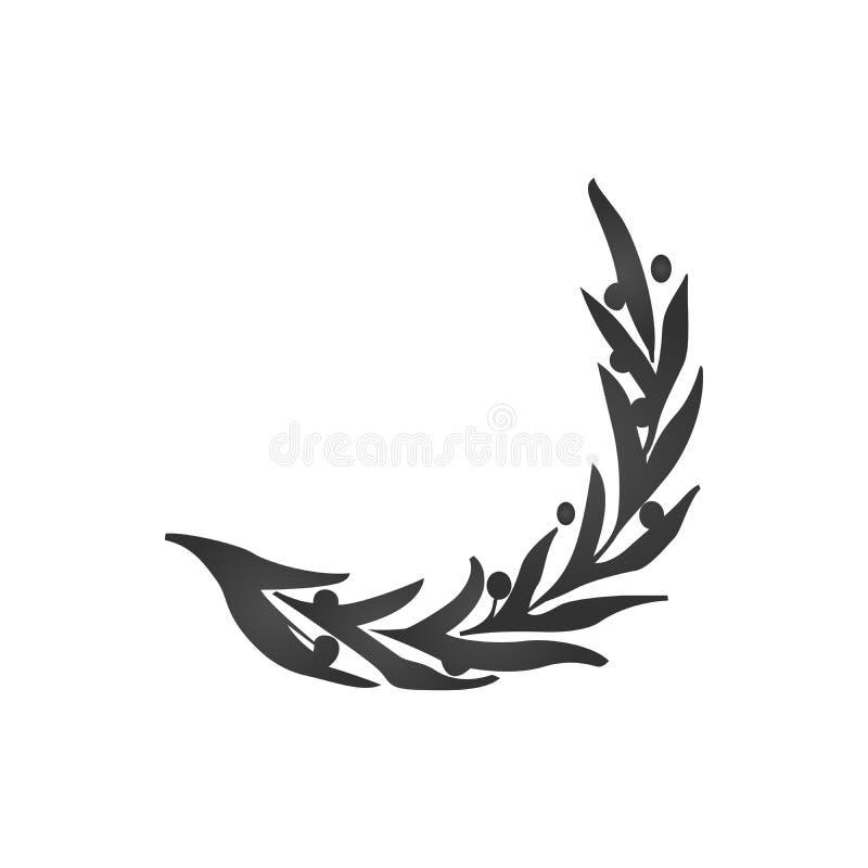 Оливковая ветка вектора изолировала шаблон логотипа, значка, иллюстрации и символа иллюстрация вектора