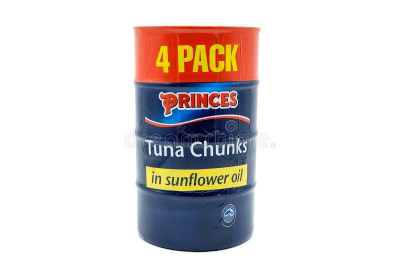 Олово 4 пакетов ломтей тунца при контейнеры олова быть recyc стоковые фото