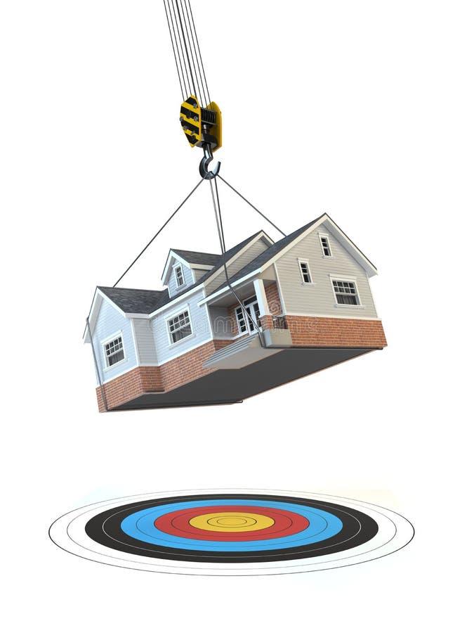 домашний двигать Кран с домом и цель на белизне Cha иллюстрация штока