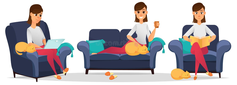 домашняя женщина Комплект Стилизованный характер бесплатная иллюстрация