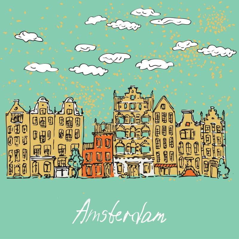 дома канала amsterdam бесплатная иллюстрация