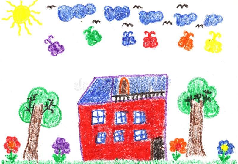 дом s чертежа ребенка бесплатная иллюстрация