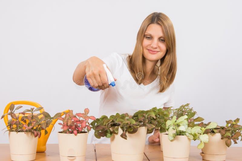 Она брызгает воду от цветков спринклера стоковая фотография