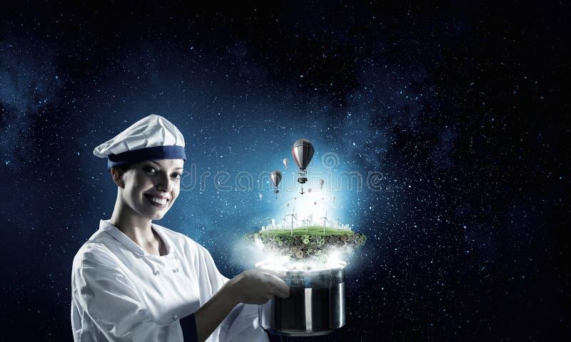 Download Она волшебник как кашевар Мультимедиа Стоковое Изображение - изображение насчитывающей смотреть, домохозяйка: 81808385