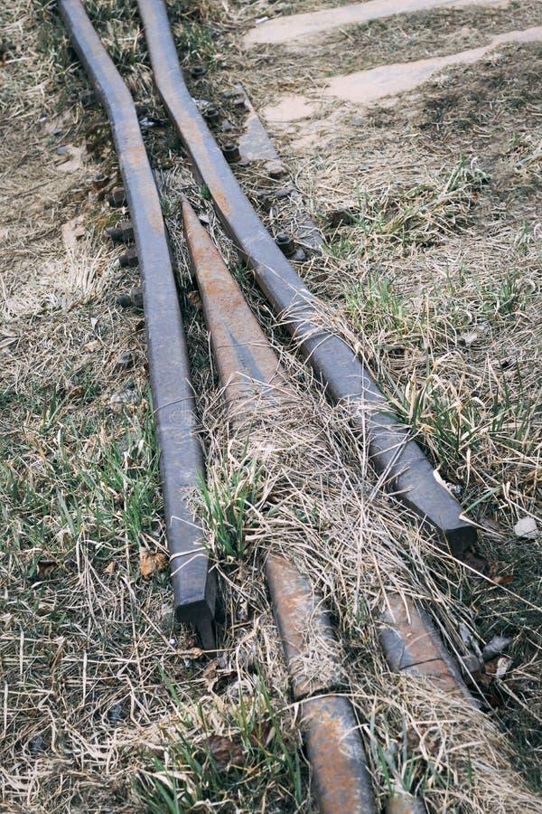 Железная дорога деревянные слиперы ретро она перерастана с травой не пошл натренировать стоковое изображение