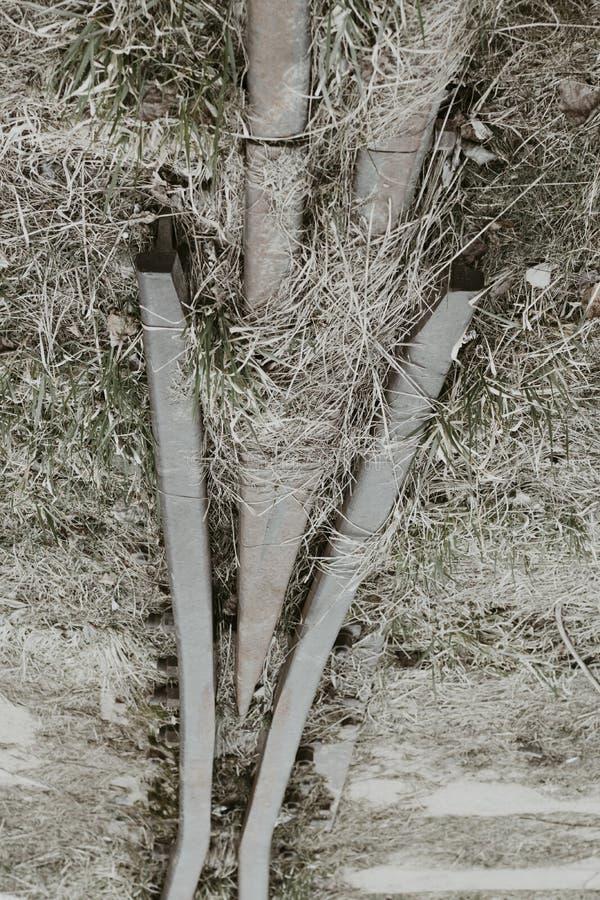 Железная дорога деревянные слиперы ретро она перерастана с травой не пошл натренировать стоковые фото