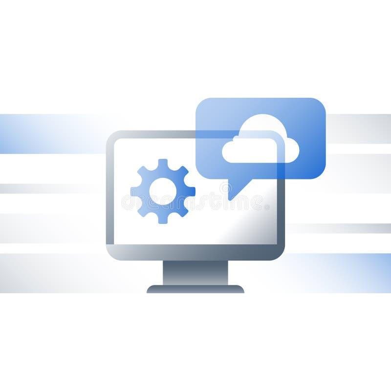 Онлайновые службы заволакивают технология, решения дела, обмен данными, развитие, сетевое подключение, резервный сервер бесплатная иллюстрация
