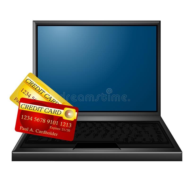онлайновые службы кредита карточки иллюстрация вектора