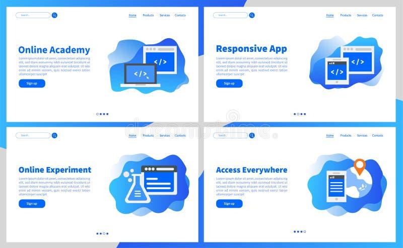 Онлайн академия или пользовательский интерфейс UX онлайн приложений образования простой, экран UI шаблон для мобильного умного те иллюстрация вектора