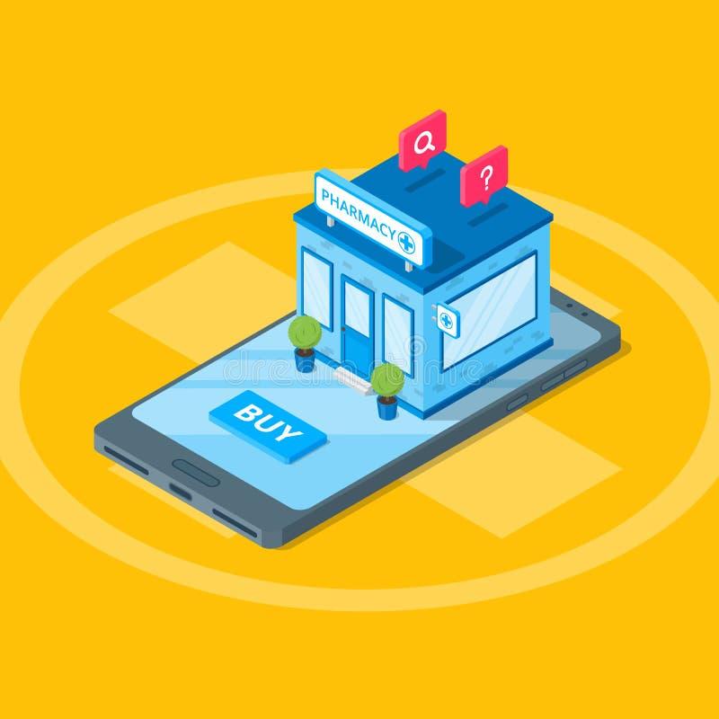 Онлайн аптека, равновеликая иллюстрация 3d Плоская иллюстрация Концепция app медицины и здравоохранения передвижная иллюстрация вектора