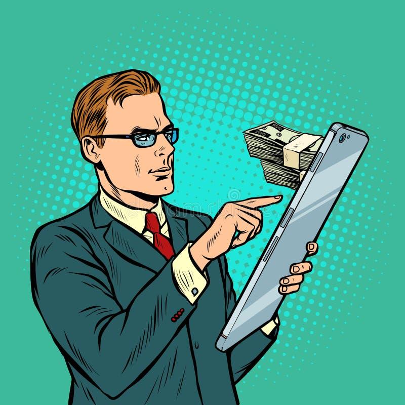 Онлайн-банкинги обмен, доход и приобретения бизнесмен и смартфон с большим экраном иллюстрация вектора