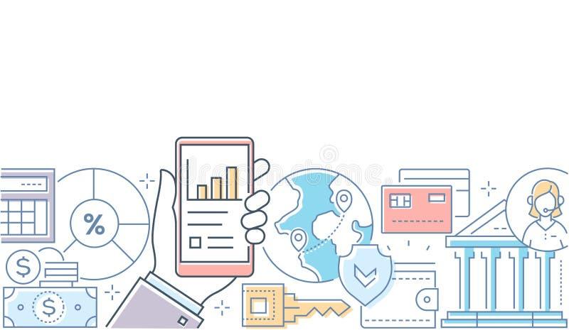 Онлайн-банкинги - современная линия иллюстрация стиля дизайна иллюстрация штока