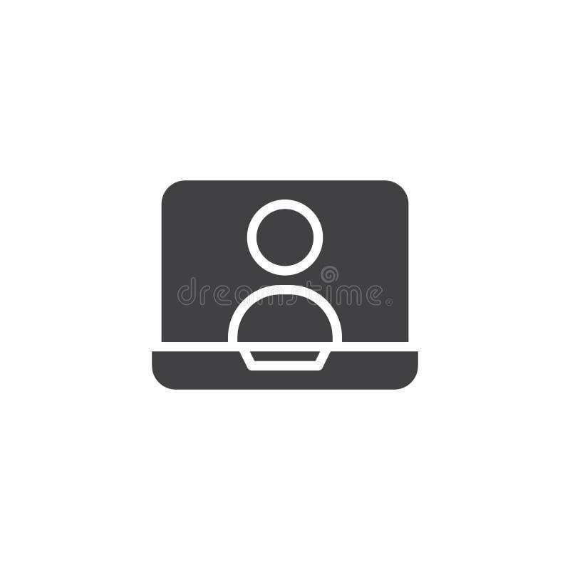 Онлайн болтовня на значке вектора экрана компьтер-книжки иллюстрация вектора