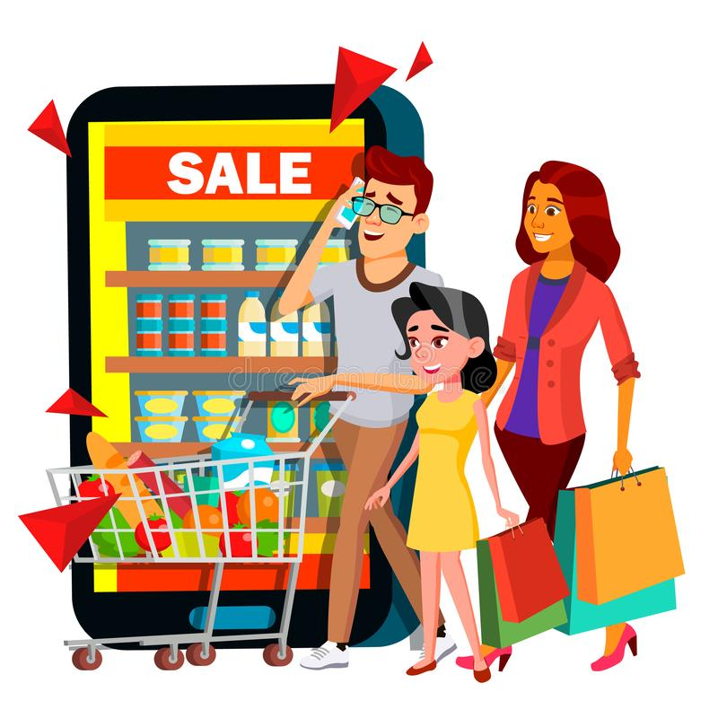 Онлайн вектор покупок Мать, отец, ребенок с ходя по магазинам диаграммой в магазине мобильной семьи онлайн иллюстрация иллюстрация вектора