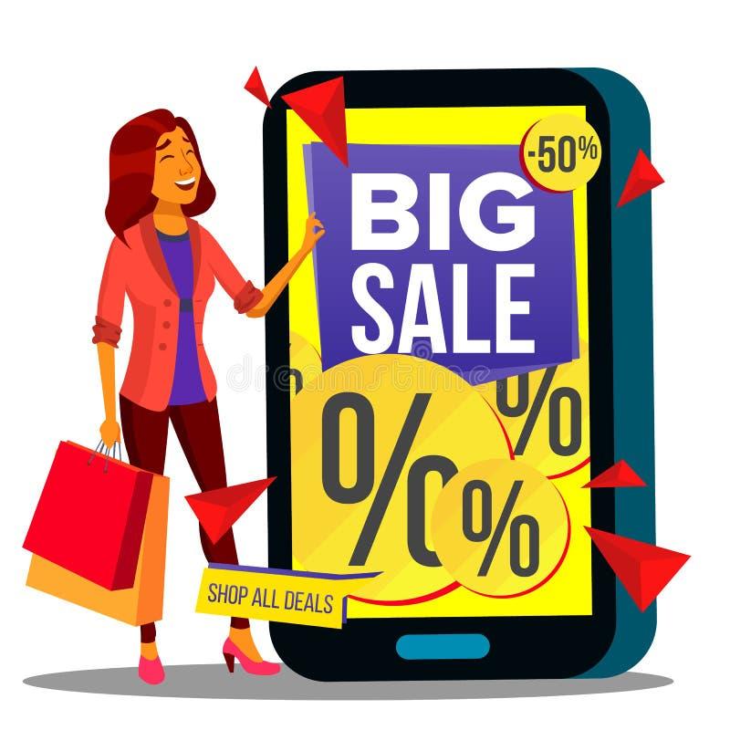 Онлайн вектор покупок Современная красивая женщина стоя с хозяйственными сумками и покупая одеждами онлайн иллюстрация бесплатная иллюстрация