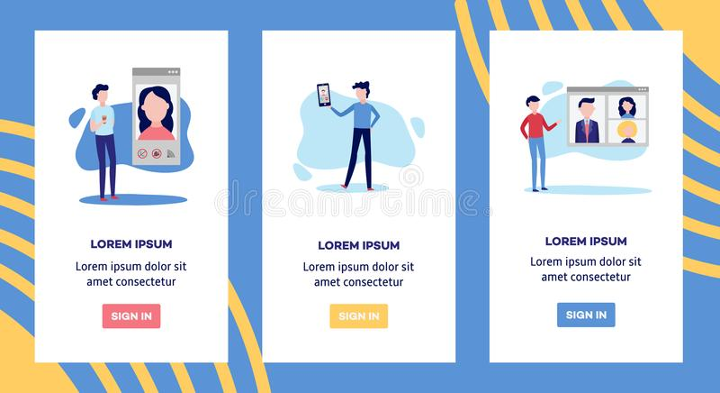 Онлайн видео- знамена конференции болтовни звонка установили при люди используя smartphone для того чтобы связывать с другими люд иллюстрация штока