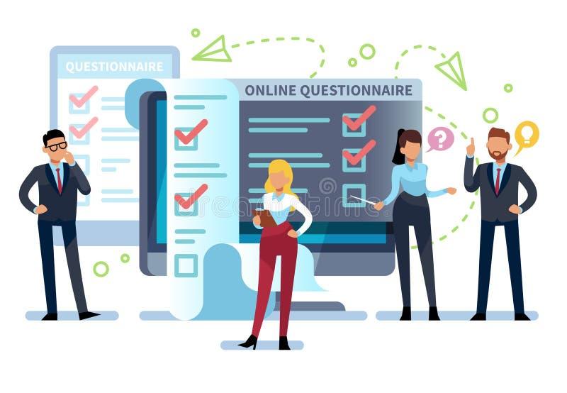 Онлайн вопросник Люди заполняют вне форму обзора интернета на ПК Список экзамена, успешный компьютер испытывая, онлайн викторина иллюстрация вектора