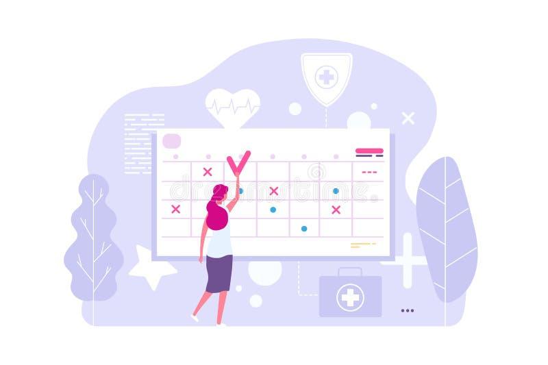 Онлайн встреча доктора Женщина вектора и календарь, плановая комиссия, повестка дня бесплатная иллюстрация
