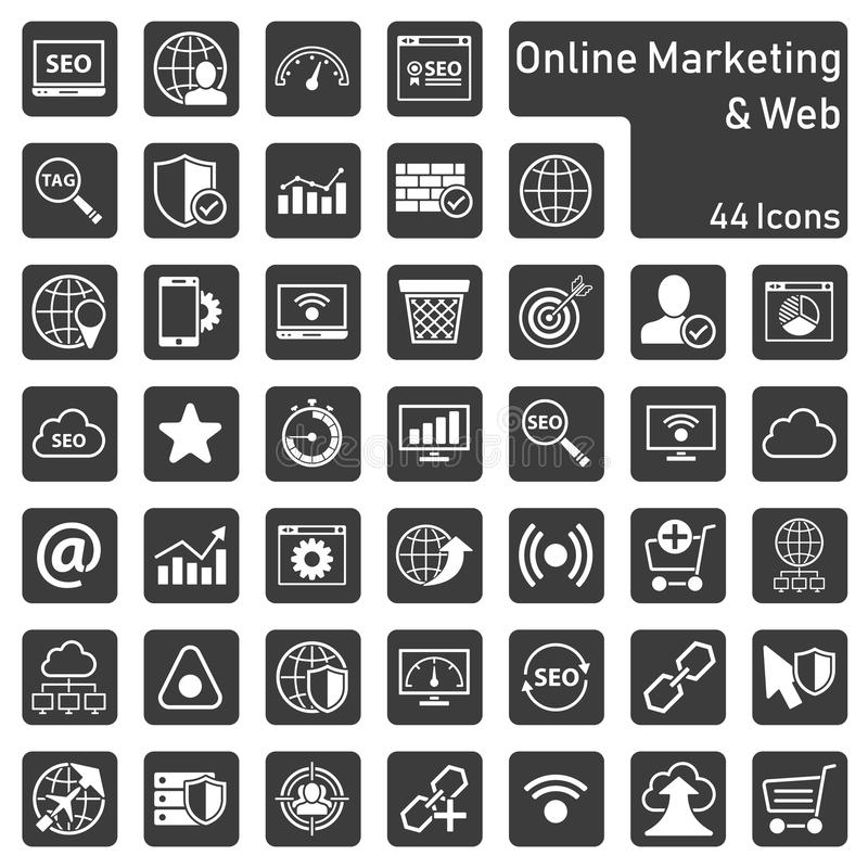 Онлайн выходя на рынок набор значка иллюстрация вектора