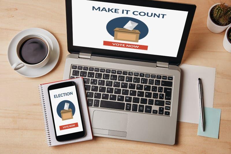 Онлайн голосуя концепция на ноутбуке и экране смартфона стоковое изображение rf