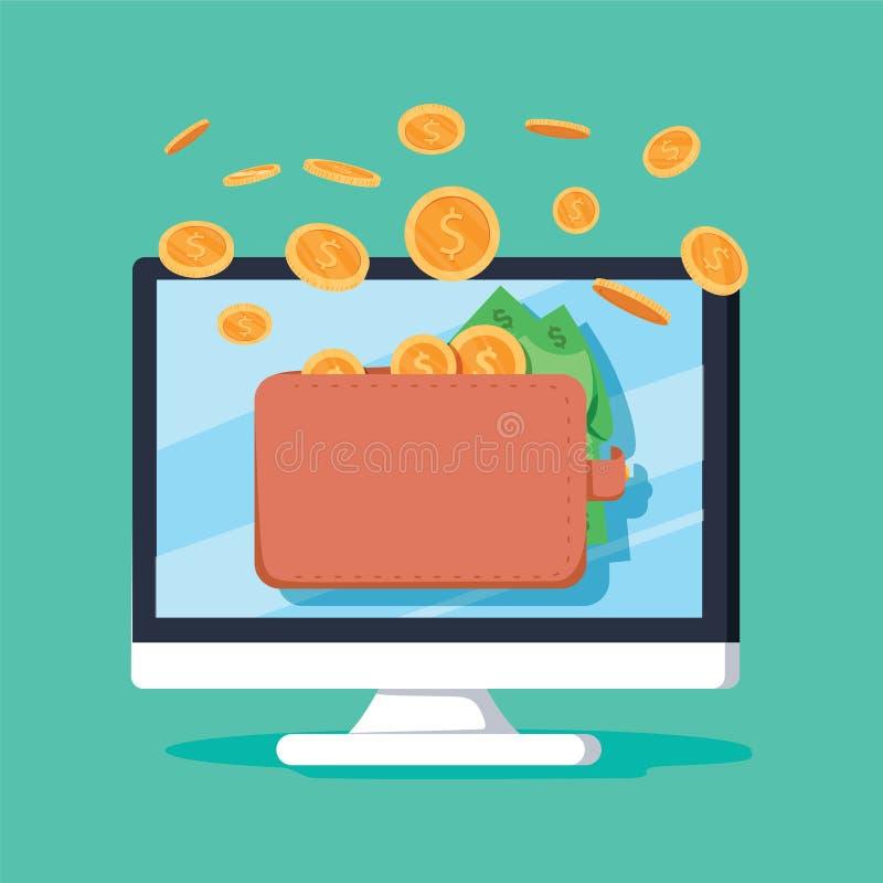 Онлайн деньги дохода в электронной иллюстрации вектора бумажника, fl иллюстрация штока