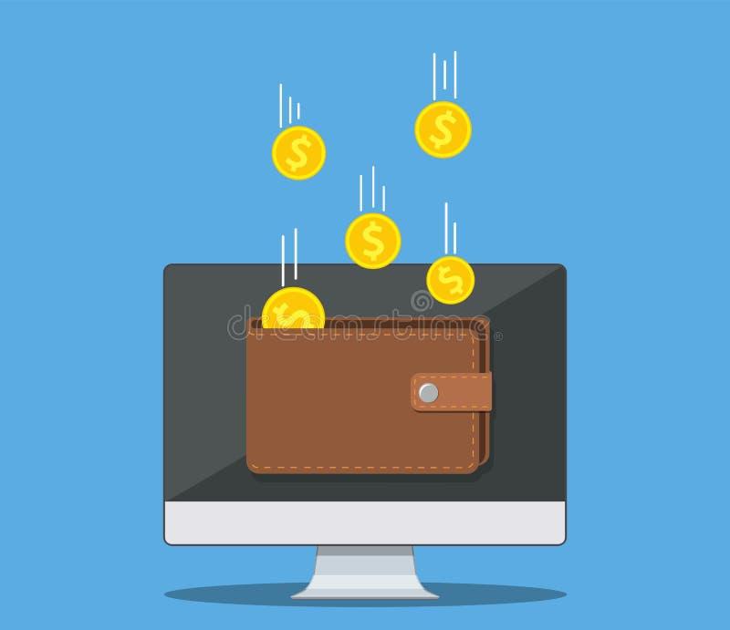 Онлайн деньги дохода иллюстрация вектора
