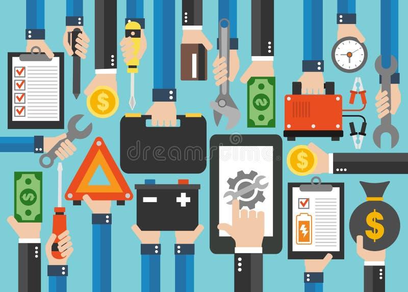 Онлайн дизайн концепции обслуживания звонка плоско Ремонт и chargin батареи иллюстрация вектора