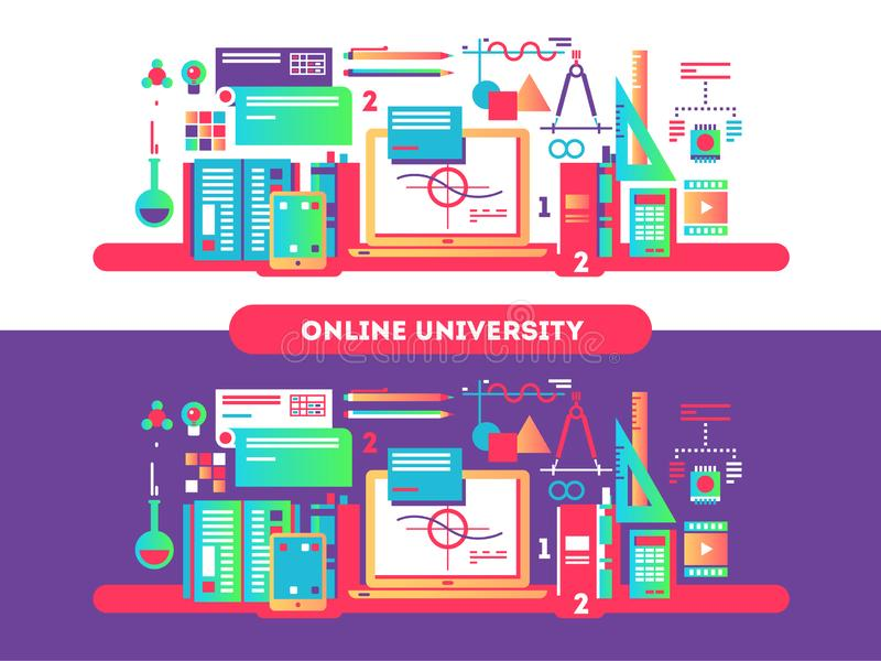Онлайн дизайн университета плоско иллюстрация вектора
