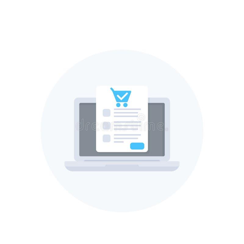 Онлайн заказ, приобретение, электронная коммерция и покупки иллюстрация штока