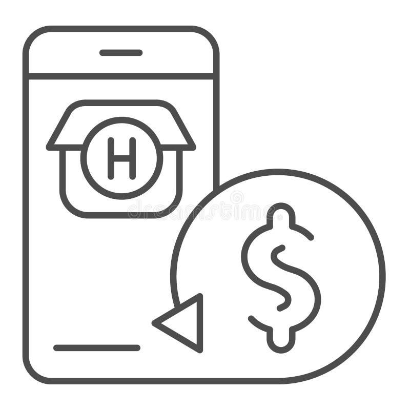 Онлайн записывая тонкая линия значок Иллюстрация вектора онлайн-платежа изолированная на белизне Стиль плана резервирования гости иллюстрация штока