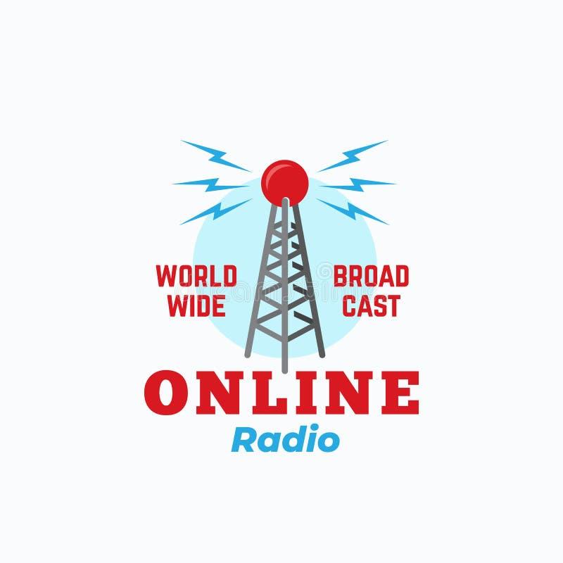 Онлайн знак вектора конспекта радио, символ или шаблон логотипа Винтажная башня антенны стиля с ретро оформлением иллюстрация штока