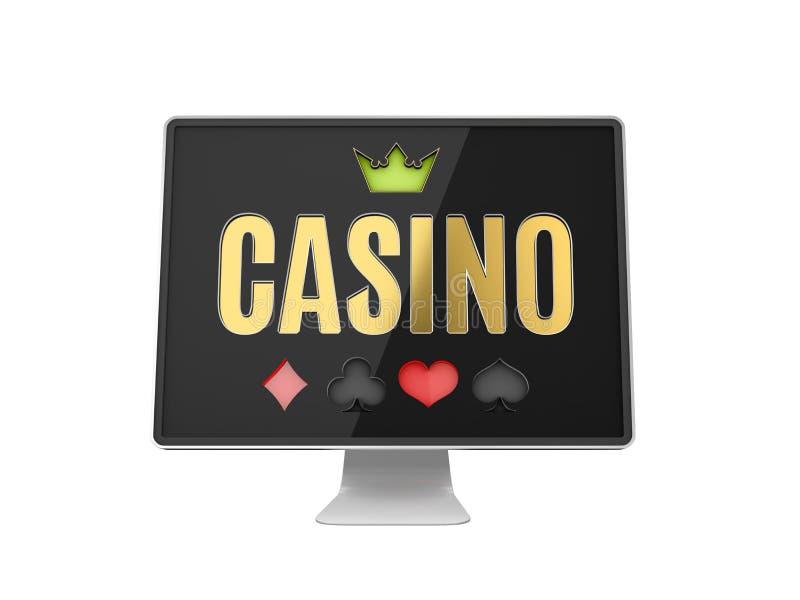 Онлайн знамя казино, реалистический монитор компьютера, иллюстрация 3d иллюстрация вектора