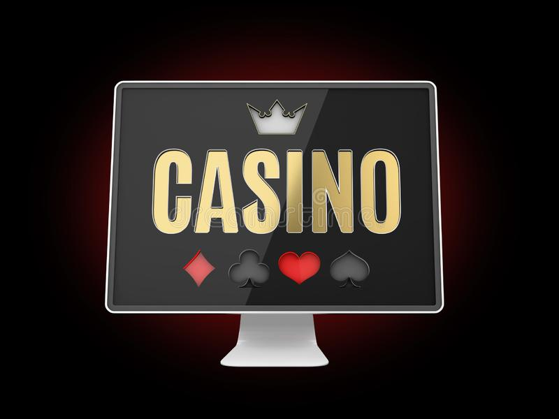Онлайн знамя казино, реалистический монитор компьютера, иллюстрация 3d бесплатная иллюстрация