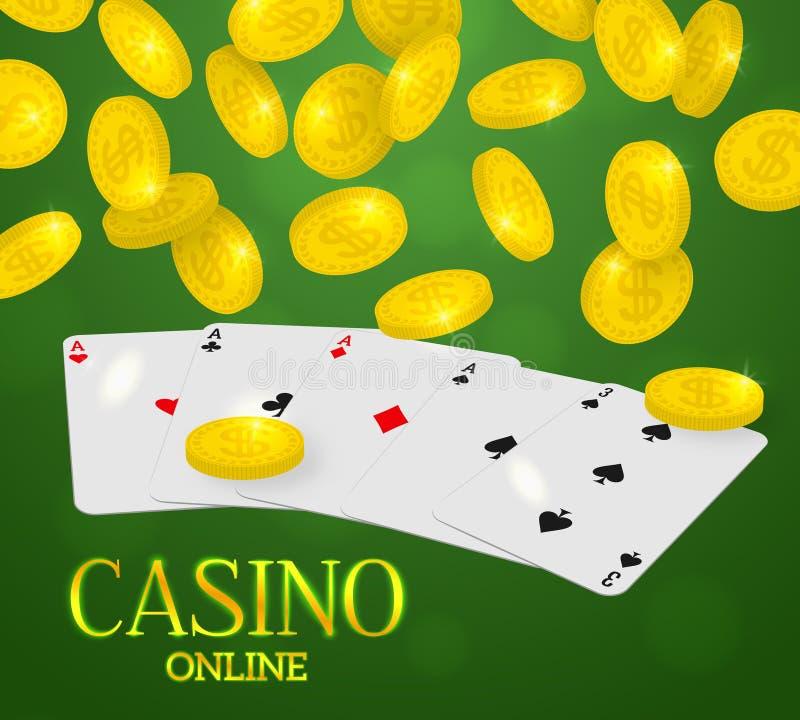 Онлайн знамя сети казино Рука покера 4 тузов и падая монетки идут дождь на зеленой предпосылке иллюстрация вектора