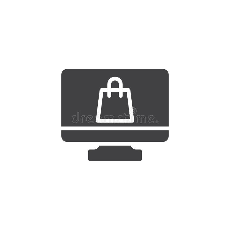 Онлайн значок вектора магазина бесплатная иллюстрация
