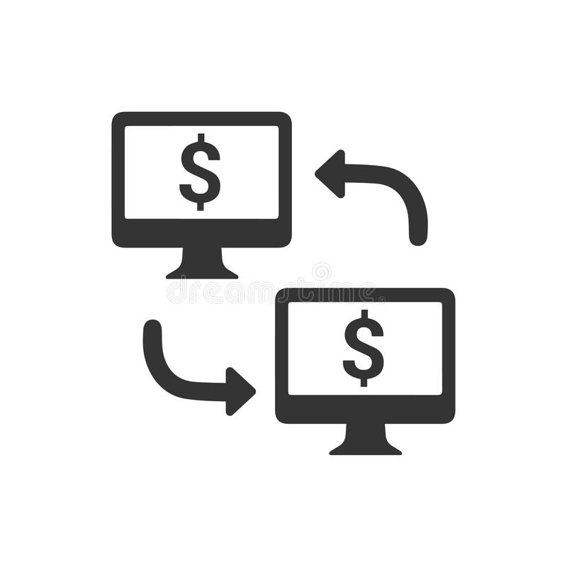 Онлайн значок денежного перевода иллюстрация вектора
