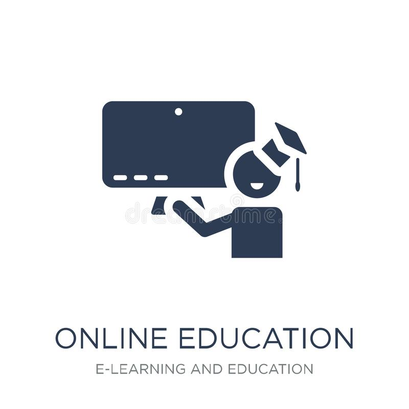 Онлайн значок образования Значок образования ультрамодного плоского вектора онлайн бесплатная иллюстрация
