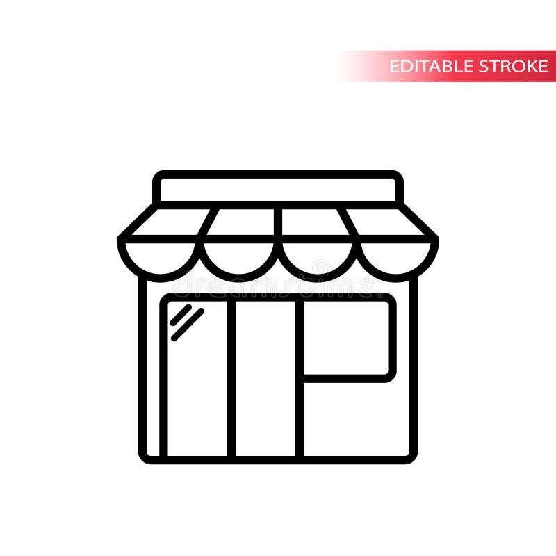 Онлайн значок плана черноты покупок Тонкая линия значок рыночного местя иллюстрация штока