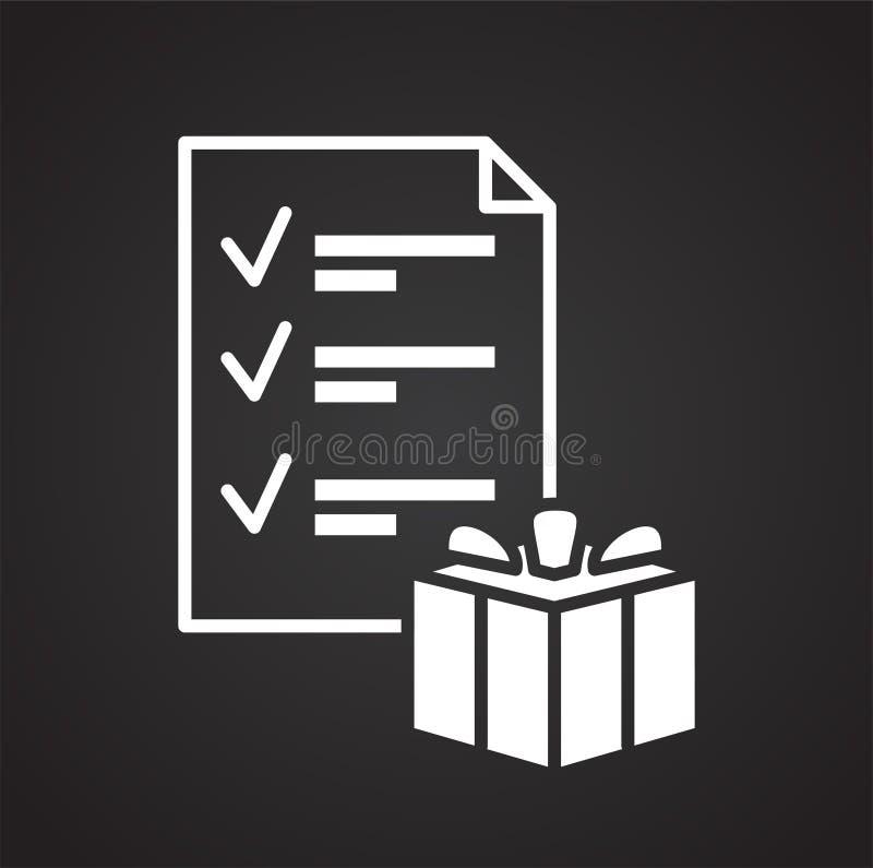 Онлайн значок списка покупок на черной предпосылке для графика и веб-дизайна, современного простого знака вектора интернет принци иллюстрация вектора