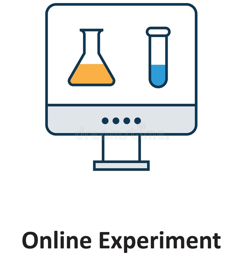 Онлайн изолированный эксперимент и значок вектора для технологии бесплатная иллюстрация