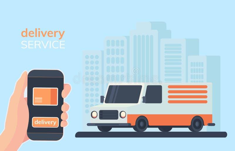 Онлайн иллюстрация обслуживания поставки Smartphone в руке с передвижным app для заказывания на линии товаров с поставкой бесплатная иллюстрация