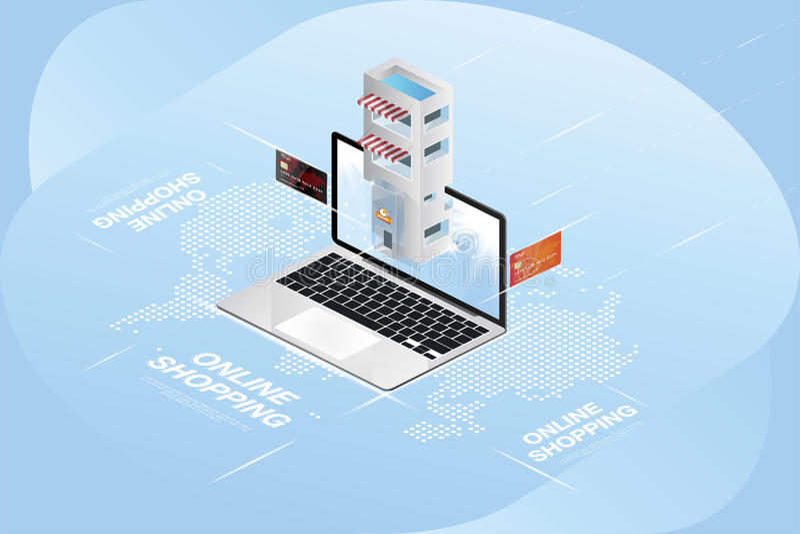 Онлайн концепция магазина 3D равновеликая Ходите по магазинам в компьтер-книжке на предпосылке карты и кредитных карточек мира ве иллюстрация вектора