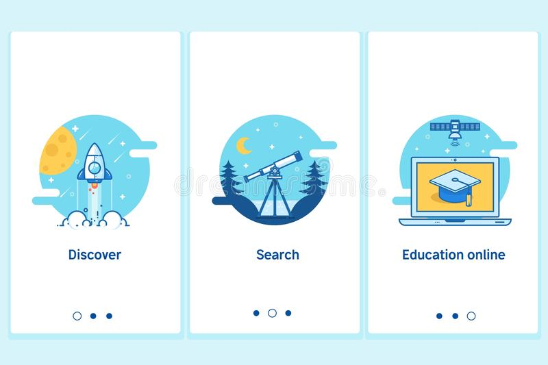 Онлайн концепция образования в тонком плоском, линейном стиле Современный шаблон экрана GUI интерфейса UX UI для умного телефона  иллюстрация штока