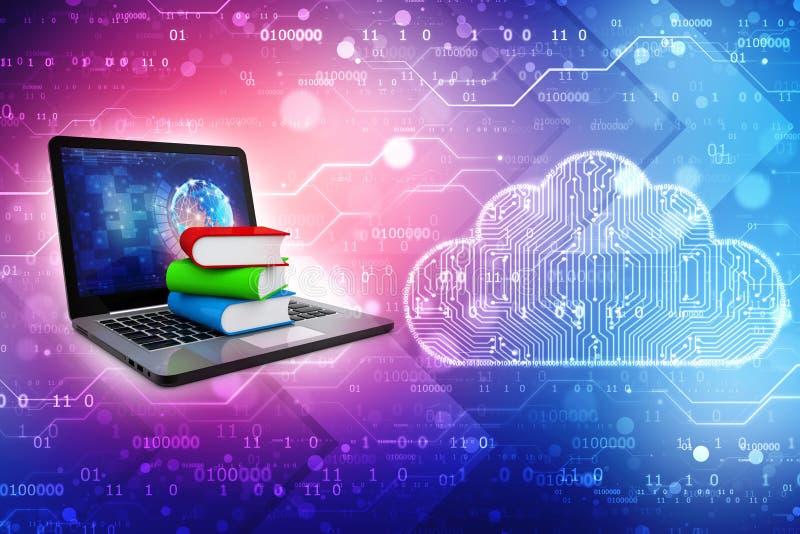 Онлайн концепция образования - портативный компьютер с красочными книгами перевод 3d стоковые фотографии rf