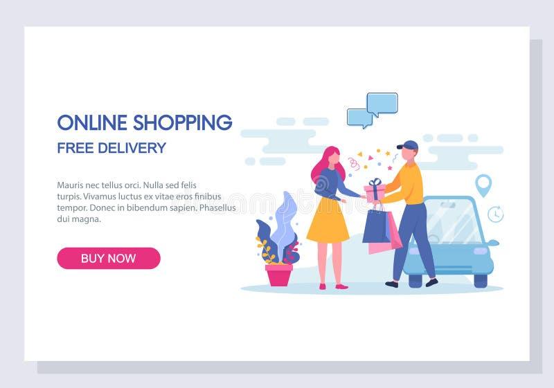 онлайн концепция покупок и электронной коммерции Вебсайт и приземляясь дизайн шаблона страницы вектор иллюстрация вектора
