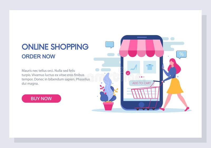 онлайн концепция покупок и электронной коммерции Вебсайт и приземляясь дизайн шаблона страницы вектор бесплатная иллюстрация