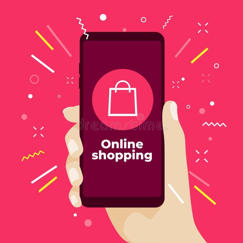 Онлайн концепция покупок при рука держа smartphone и онлайн значки магазина бесплатная иллюстрация