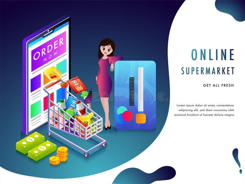 Онлайн концепция супермаркета или бакалеи purchaing с sto бакалеи бесплатная иллюстрация