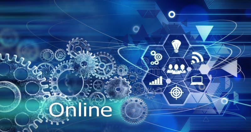Онлайн концепция, технология Cogs данным по компьютера нововведения, тренировка, предпосылка бесплатная иллюстрация