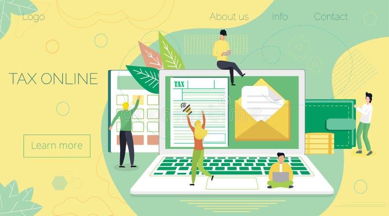 Онлайн концепция уплаты налогов, когда налоговая форма небольших людей заполняя и sendin иллюстрация вектора